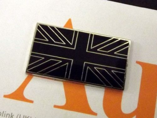 Badge, Union Jack, Enamel, black & chrome, 40mm x 20mm